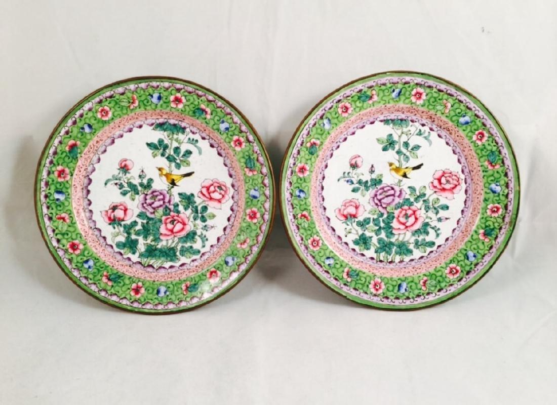 Pair of Chinese enamel plates