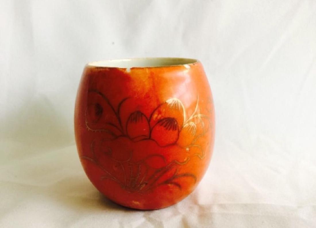 Antique Chinese red glaze porcelain bird feeder jar