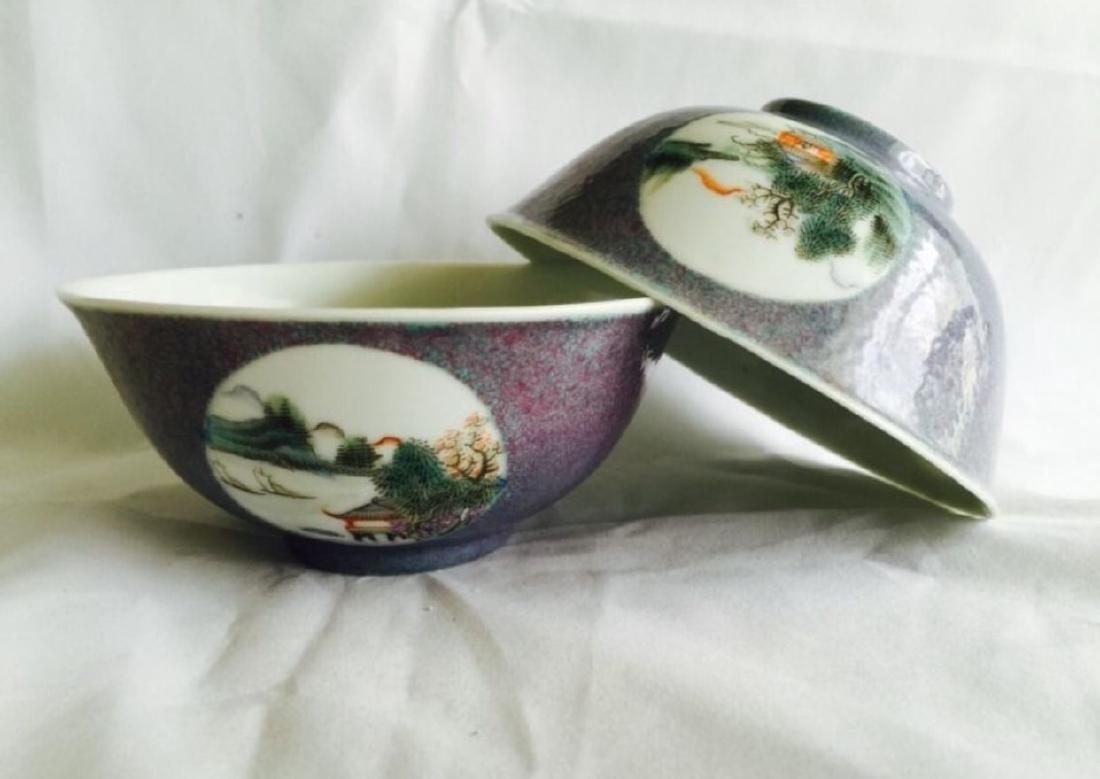 Pair of antique Chinese porcelain bowls Qian Long