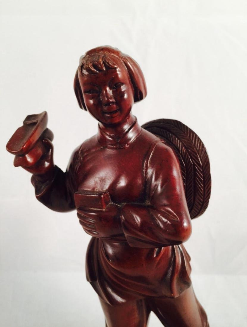 Chinese wood carving of woman - 4