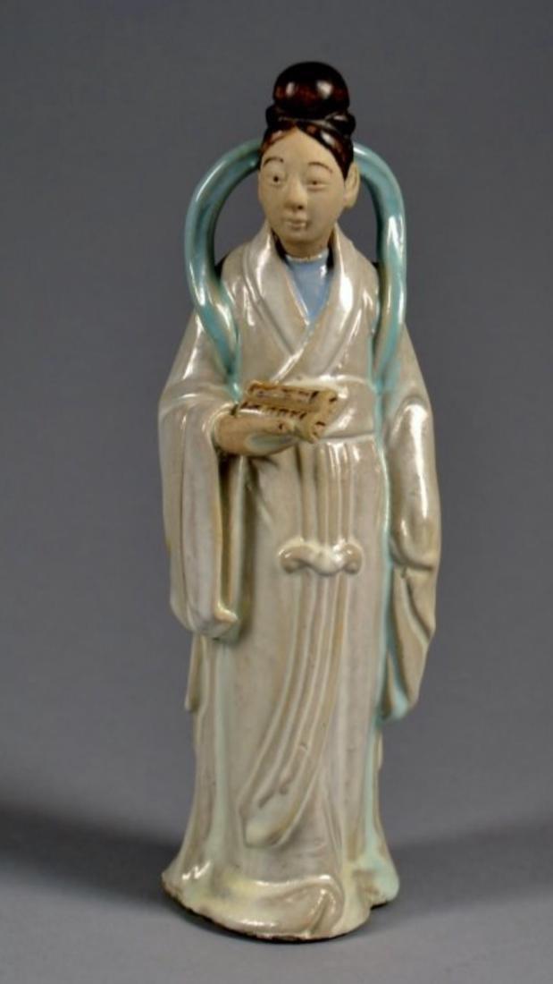 Chinese glazed figurine man holding a scroll