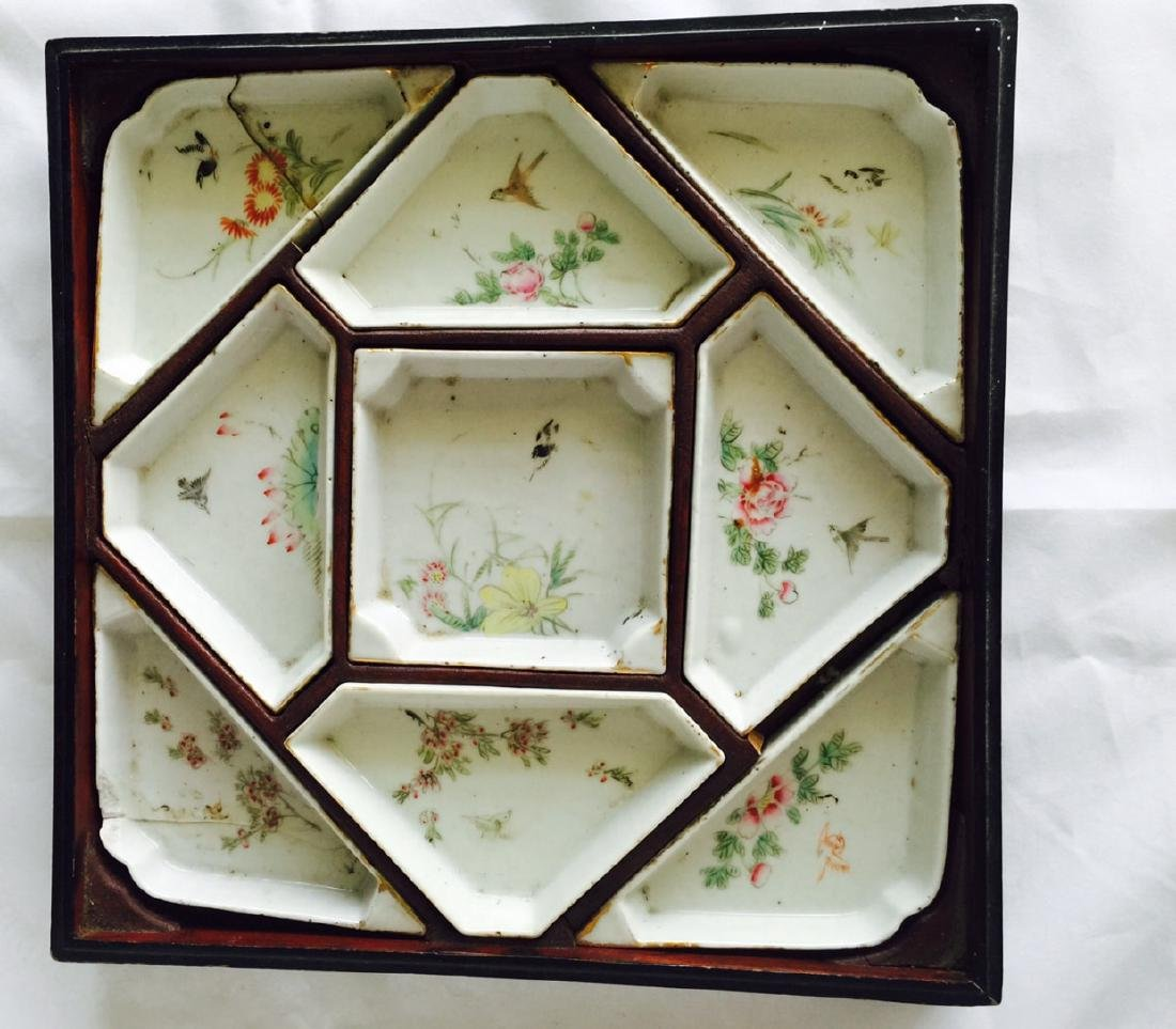 Chinese antique famille rose porcelain meet tray