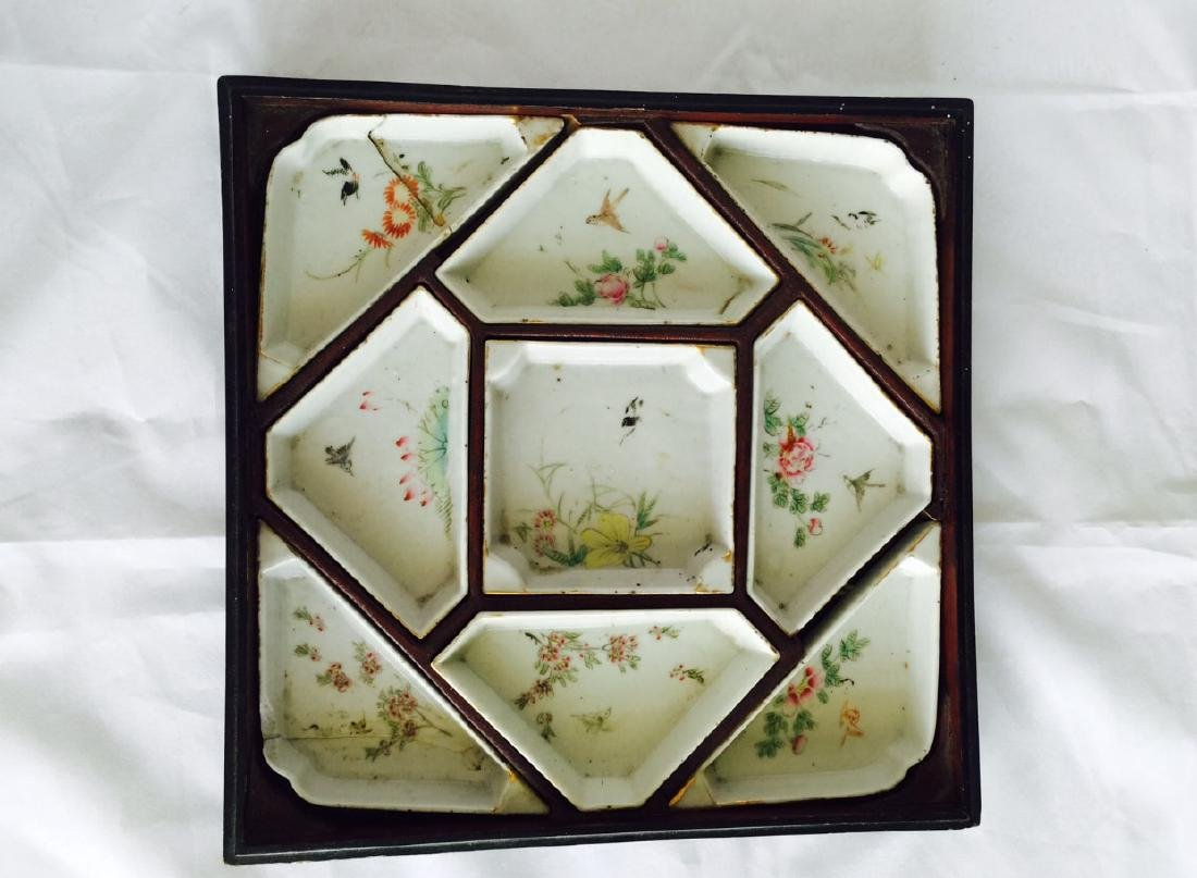 Chinese antique famille rose porcelain meet tray - 2