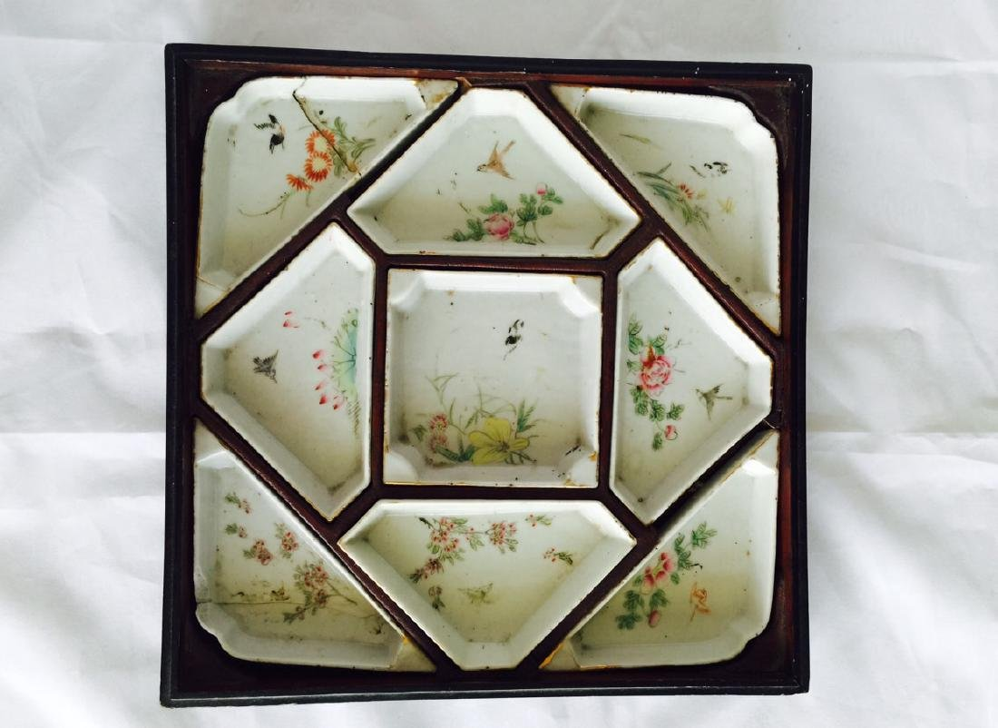 Chinese antique famille rose porcelain meet tray - 3