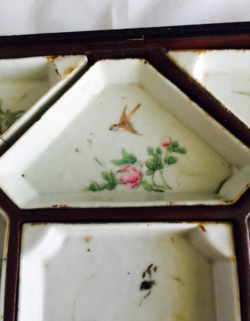 Chinese antique famille rose porcelain meet tray - 5