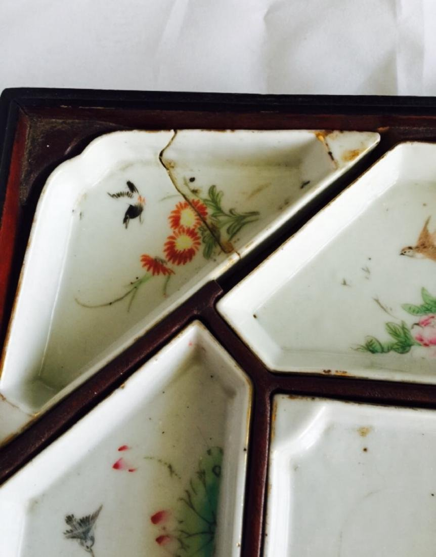 Chinese antique famille rose porcelain meet tray - 6