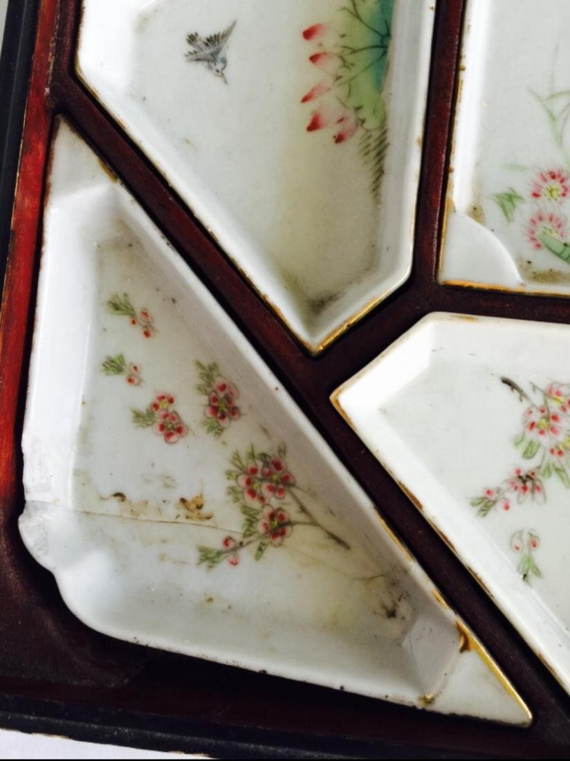 Chinese antique famille rose porcelain meet tray - 7