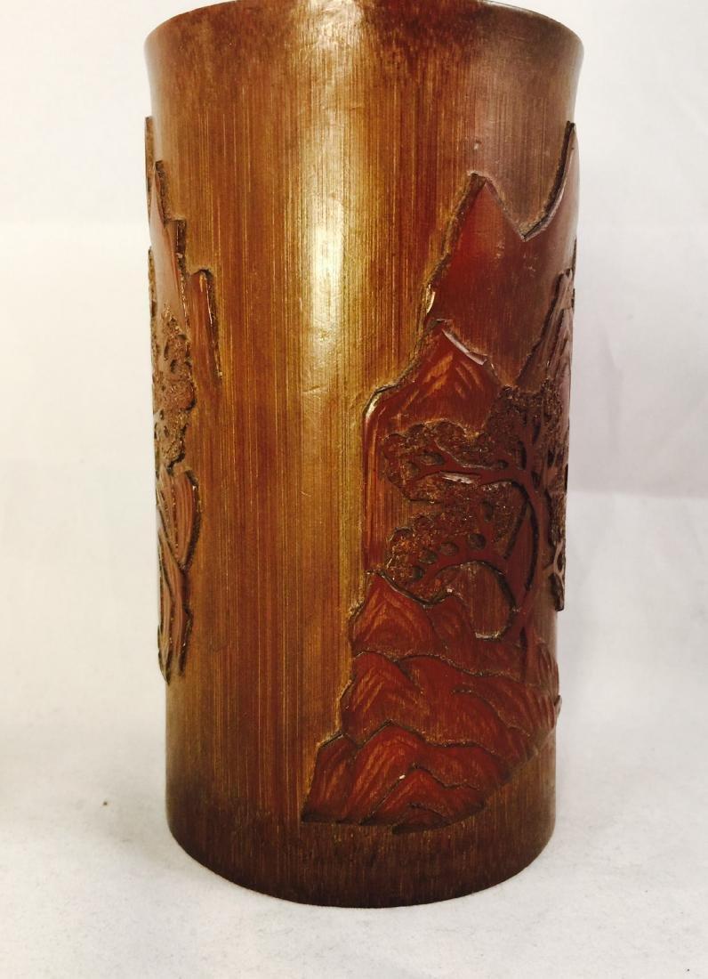 Chinese bamboo brush pot 1 - 2