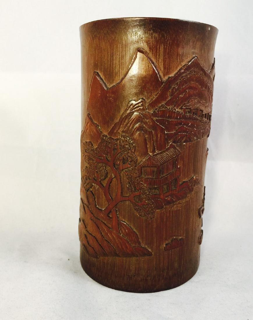 Chinese bamboo brush pot 1 - 3