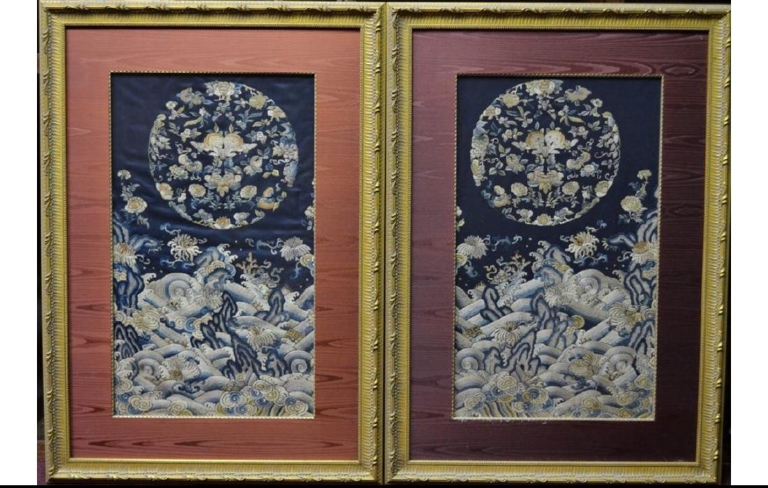Pair of chinese embroideries in frames
