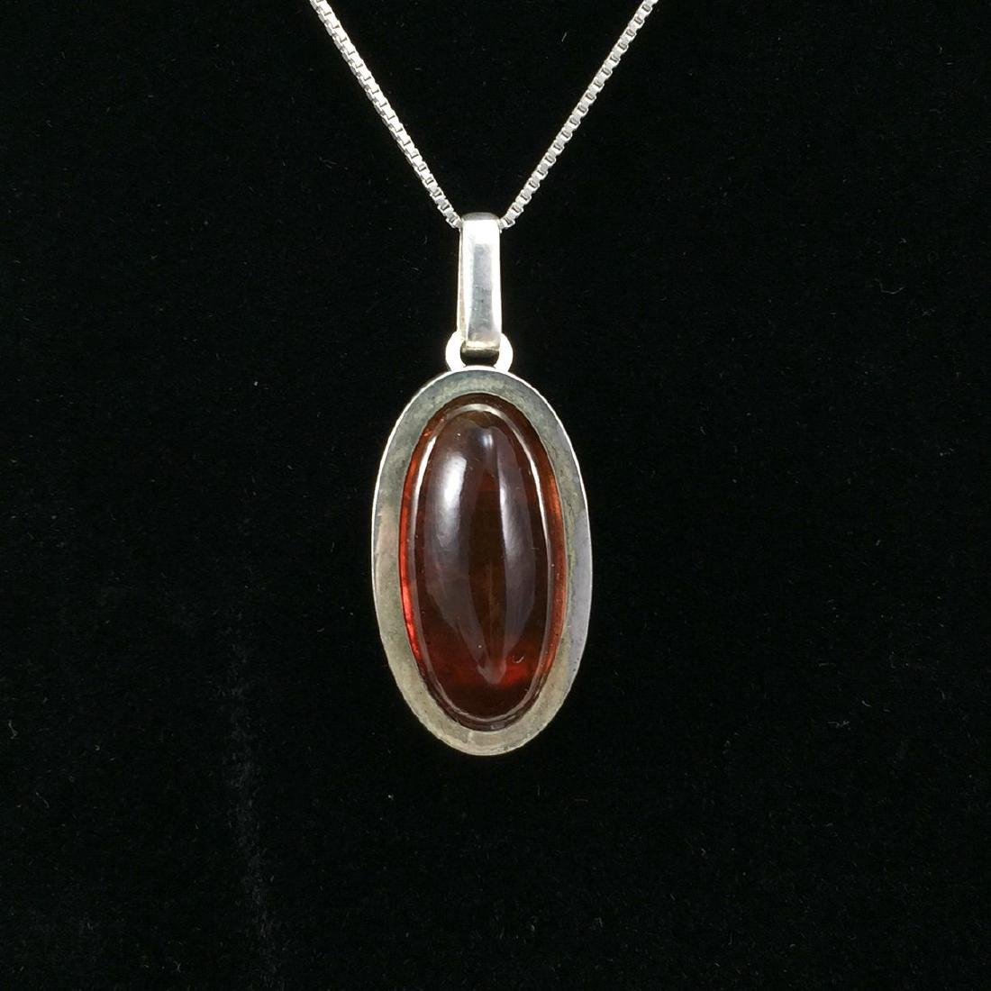 Baltic Amber and Sterling Silver Pendant Necklace by