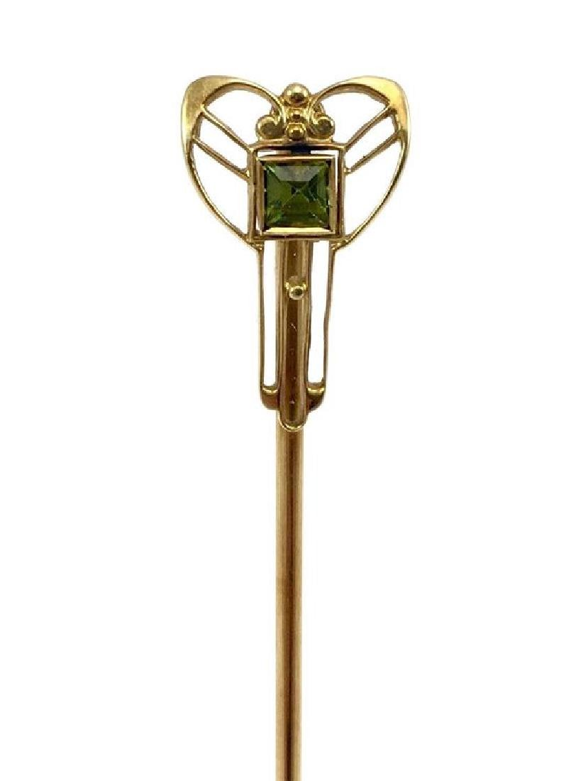 Art Deco 14 Karat Gold Stick Pin with Tourmaline