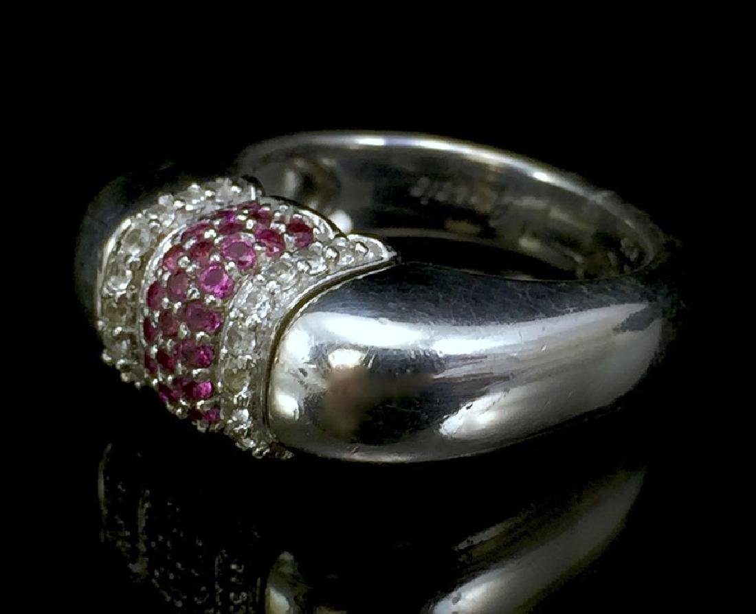 Sterling Silver Genesis Ring With Pink and White