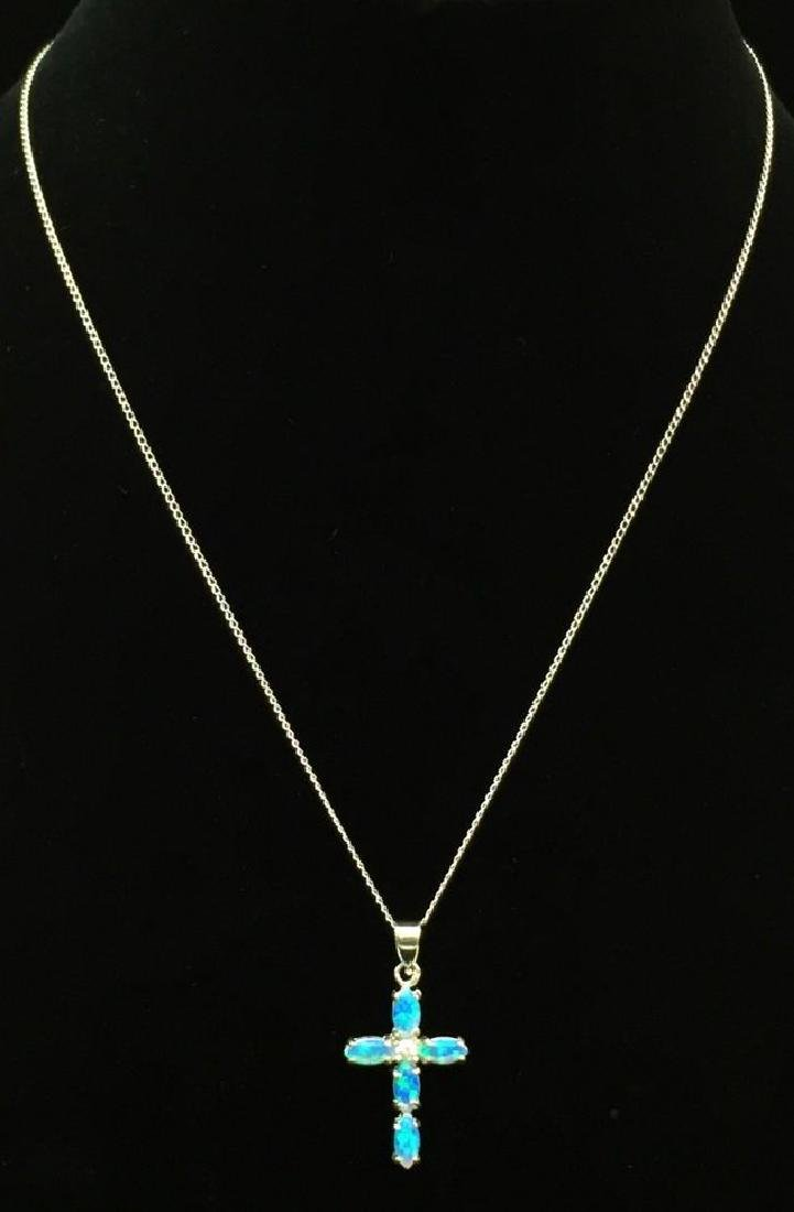 Small 10k Opal Crucifix on 14K Chain
