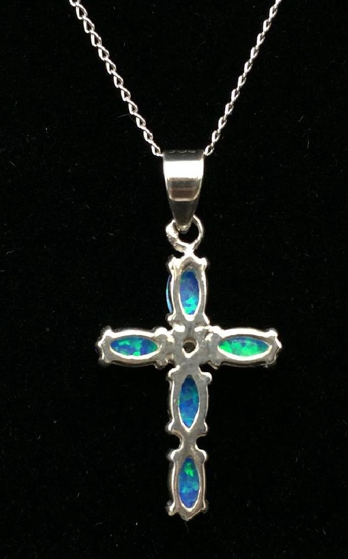 Small 10k Opal Crucifix on 14K Chain - 5