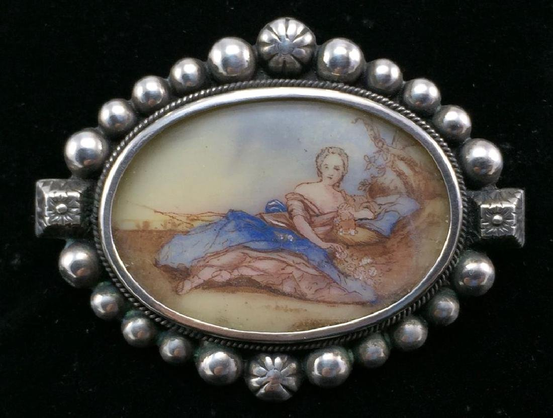 Vintage Sterling Hand-Painted Female Figure Brooch-Pin