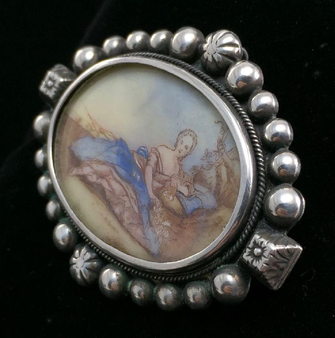 Vintage Sterling Hand-Painted Female Figure Brooch-Pin - 2