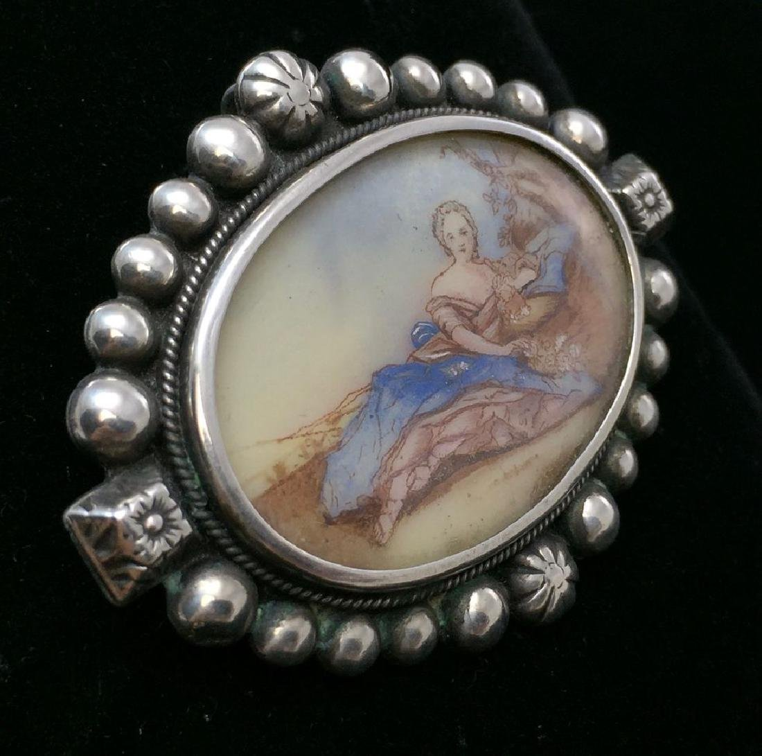Vintage Sterling Hand-Painted Female Figure Brooch-Pin - 3
