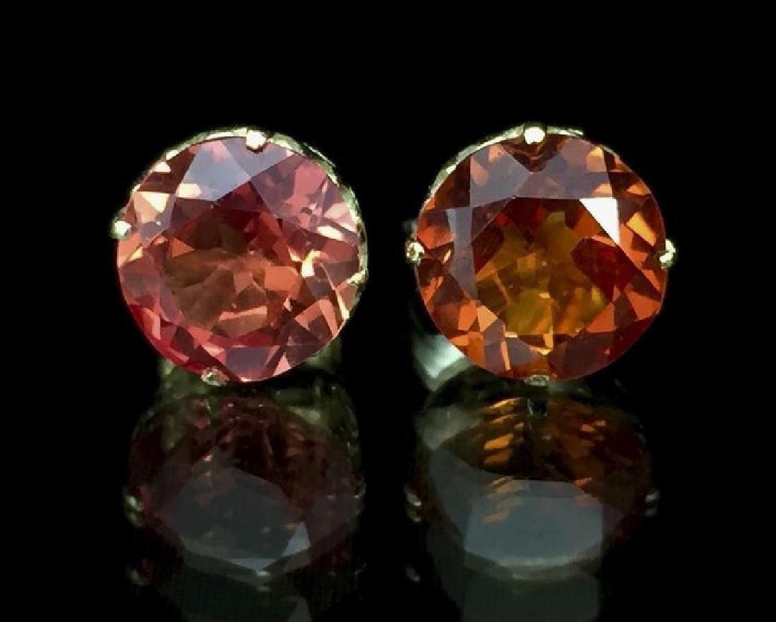 14K Orange-Pink Spinel Stone Ear Posts