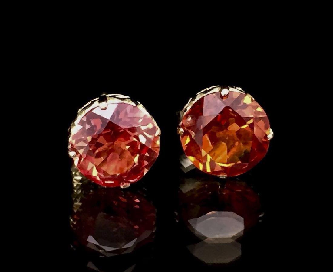 14K Orange-Pink Spinel Stone Ear Posts - 2