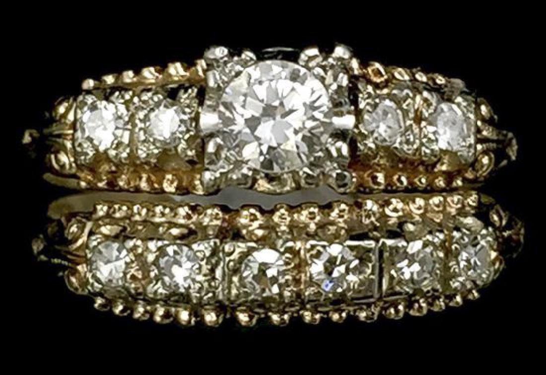 14K Gold Diamond Wedding Set - 10