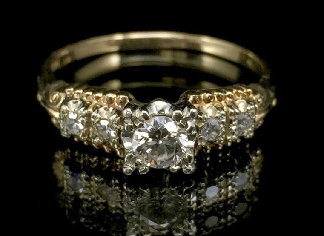 14K Gold Diamond Wedding Set - 6