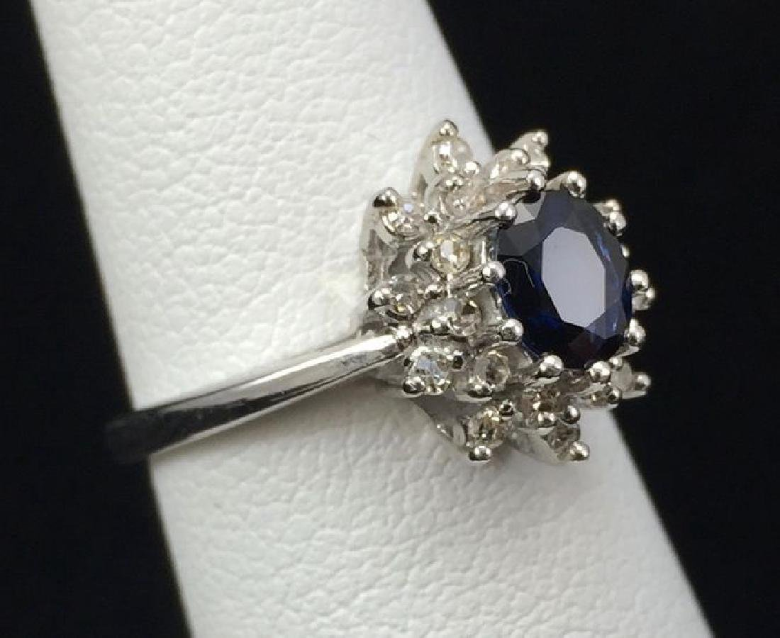 Blue Sapphire and Diamond Ring in 14K White Gold - 2