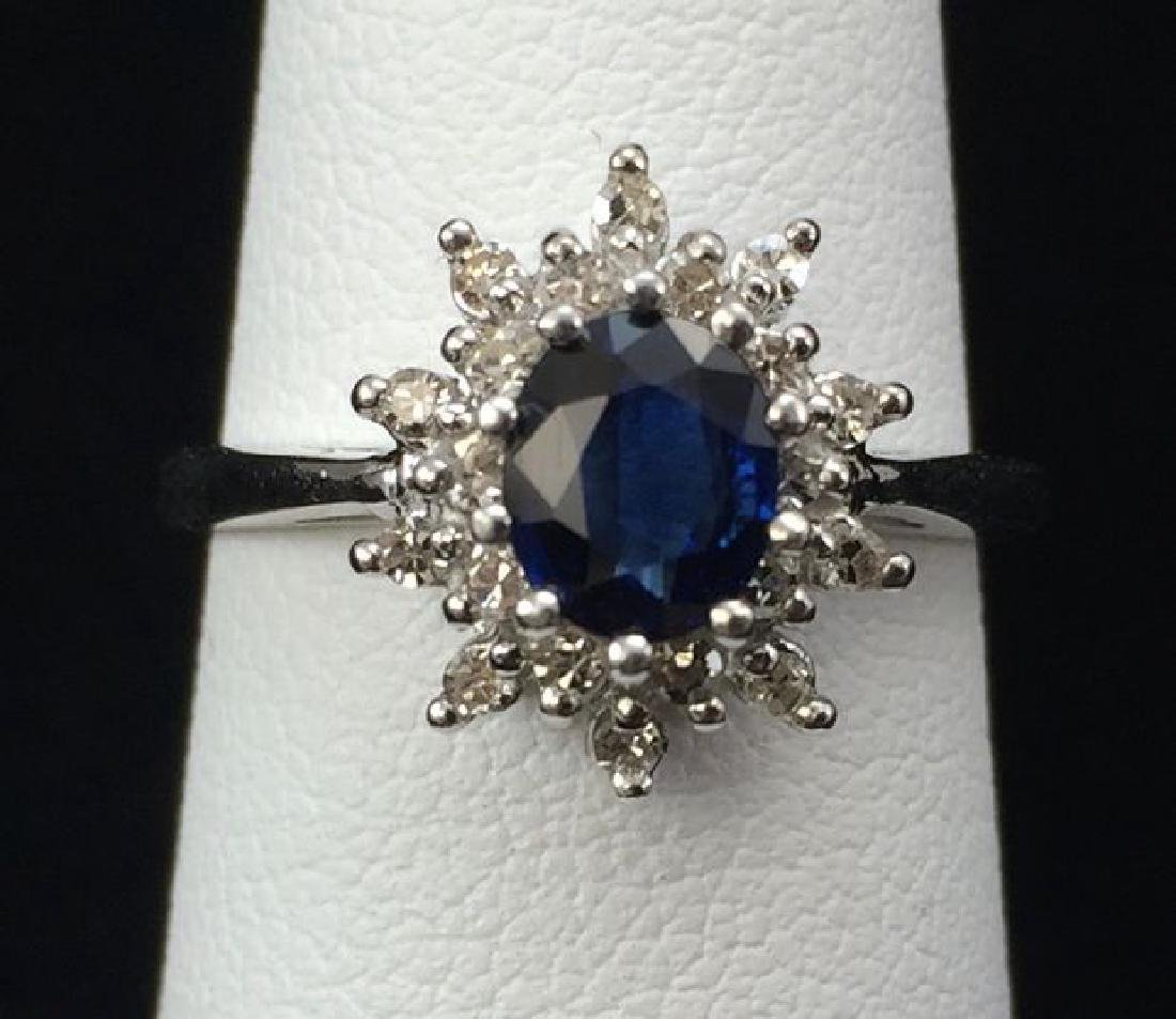 Blue Sapphire and Diamond Ring in 14K White Gold - 3