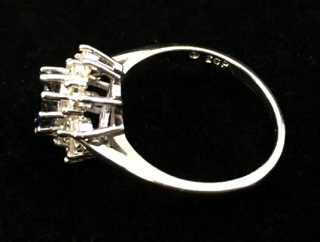 Blue Sapphire and Diamond Ring in 14K White Gold - 5