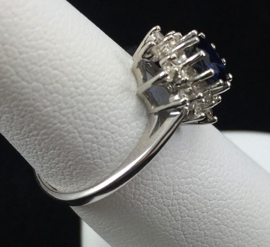 Blue Sapphire and Diamond Ring in 14K White Gold - 6