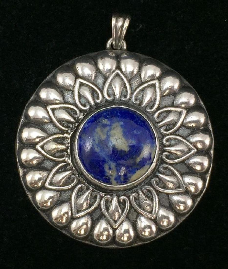 Antique Ernst Bek Sterling 800 Silver Pendant With Blue