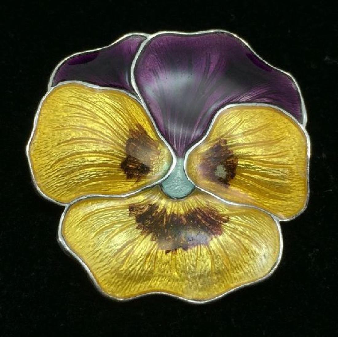 Antique Sterling Enameled Pansy Brooch Atkins and Sons