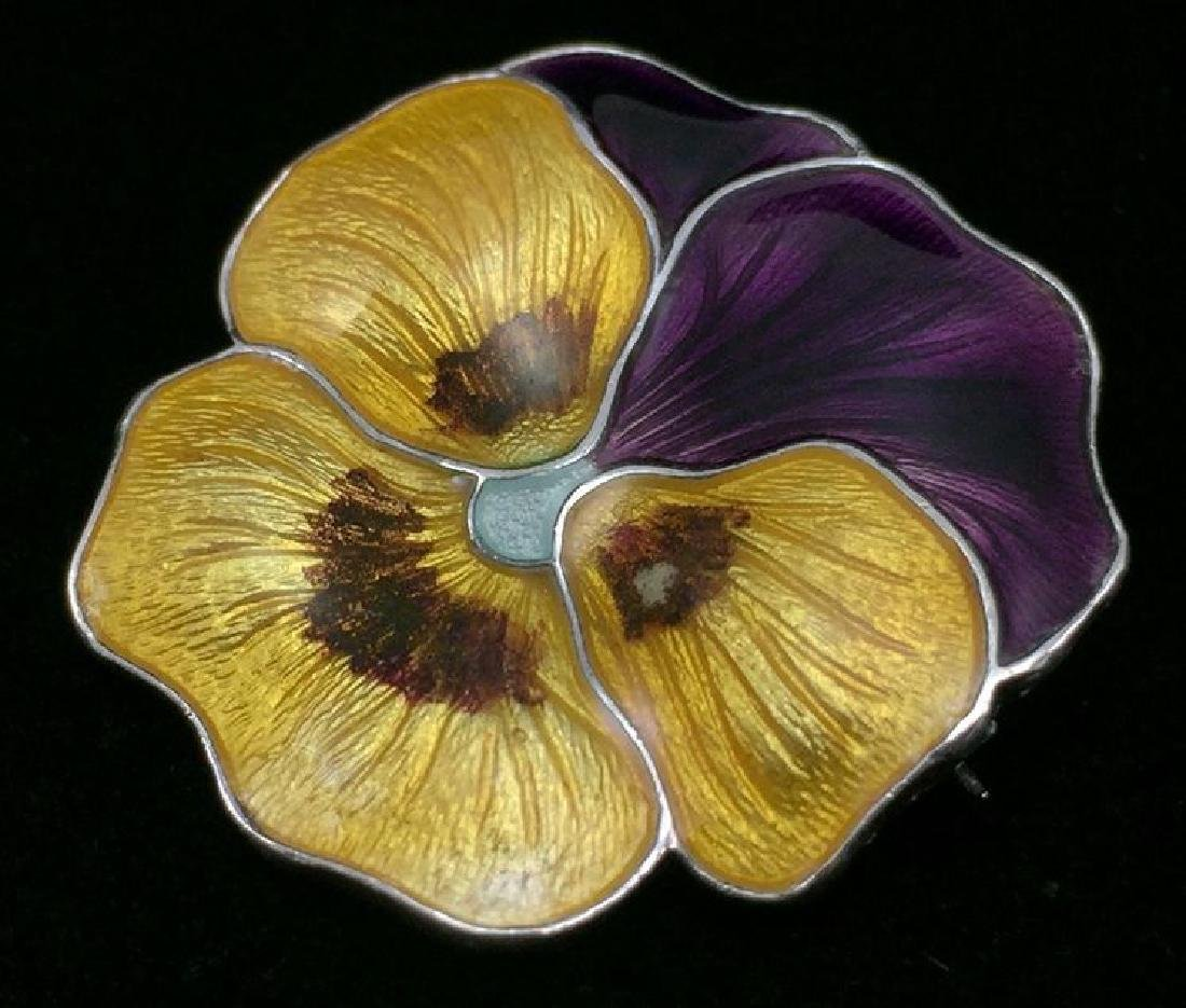 Antique Sterling Enameled Pansy Brooch Atkins and Sons - 2