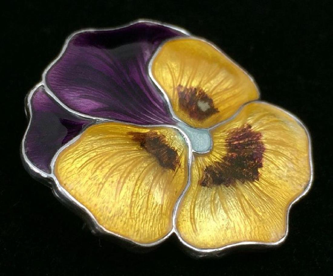 Antique Sterling Enameled Pansy Brooch Atkins and Sons - 3