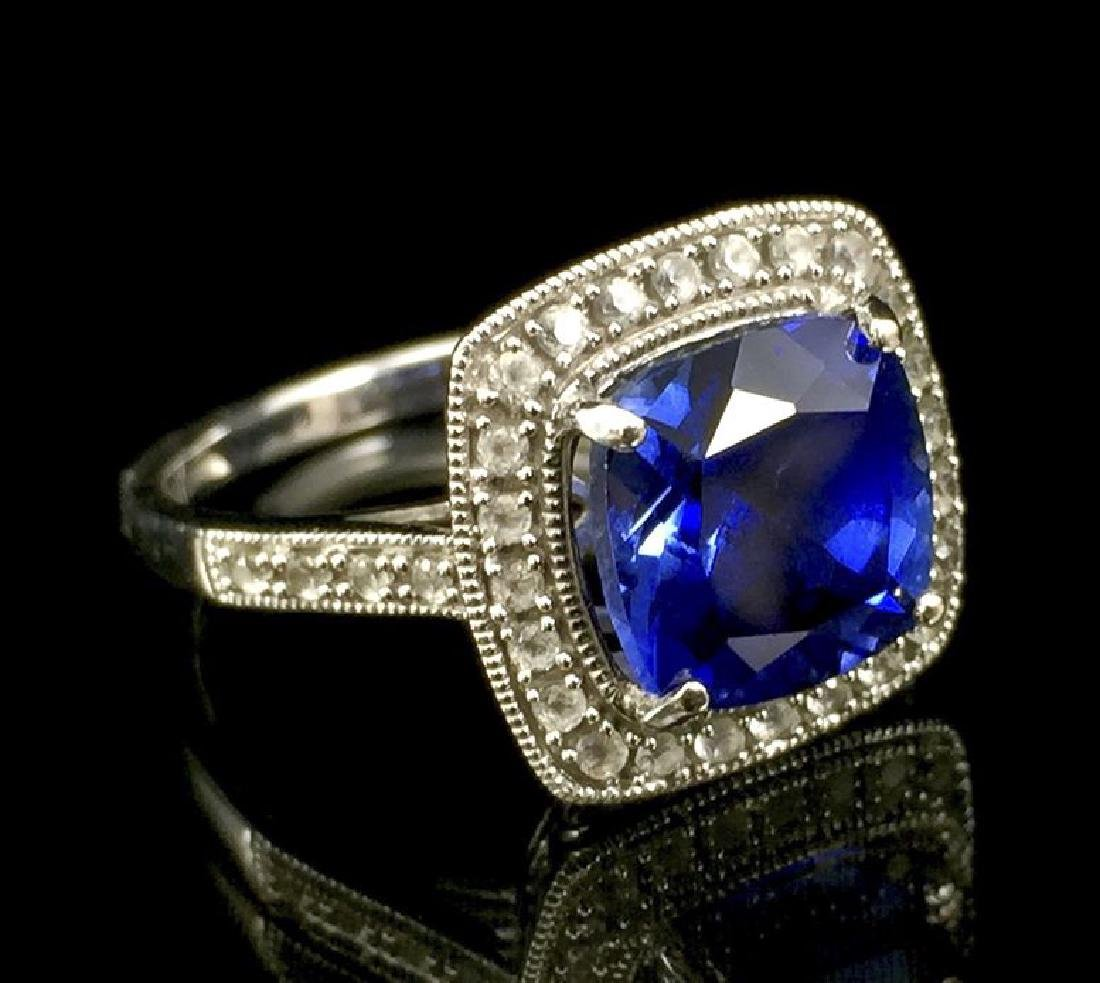 Blue Spinel and White Sapphire 14k White Gold Ring