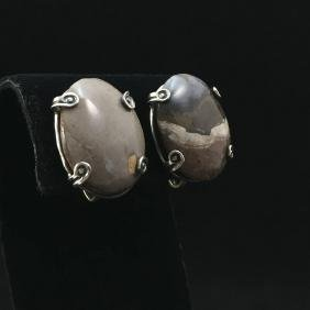 1950s Antonio Pineda Sterling Labradorite Earrings