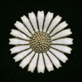 Georg Jensen Sterling 925 Silver Enameled Daisy