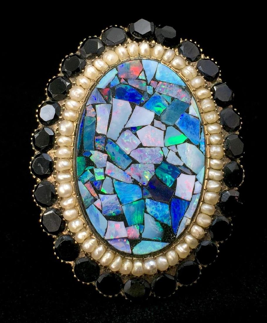 Gold Victorian Brooch-Pin with Onyx, Opal and Pearls