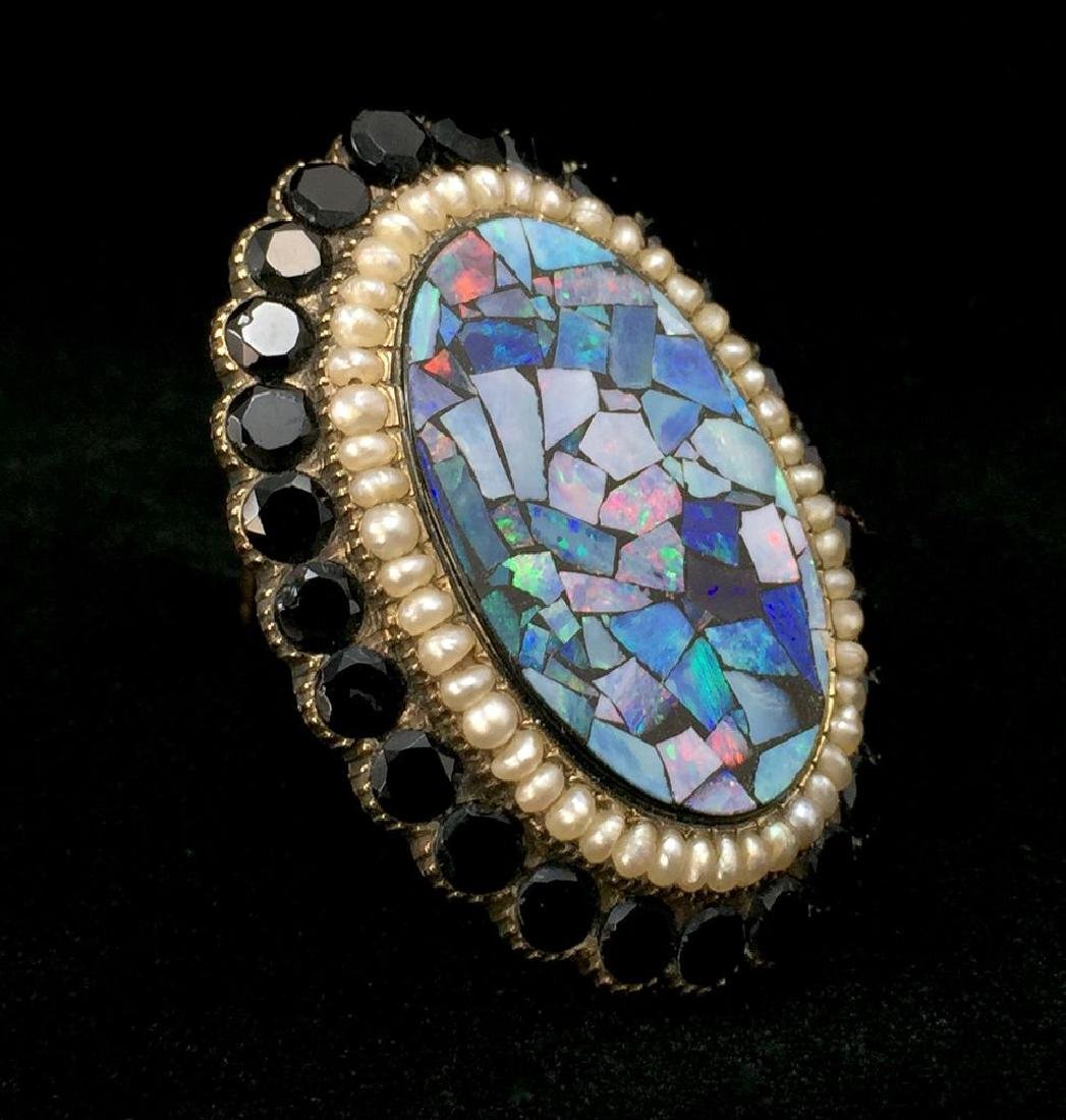 Gold Victorian Brooch-Pin with Onyx, Opal and Pearls - 2