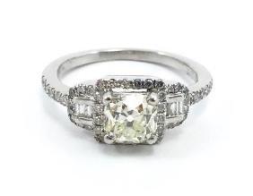 1.04 Carat Cushion Brilliant Diamond and Platinum Ring