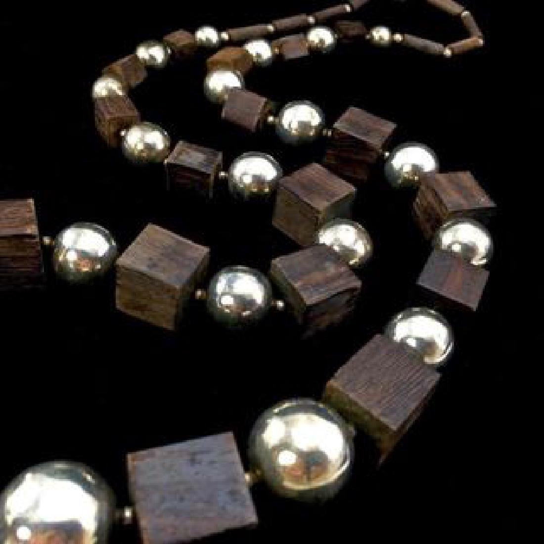 Chunky Los Castillo Sterling Silver and Wenge Wood Bead - 2