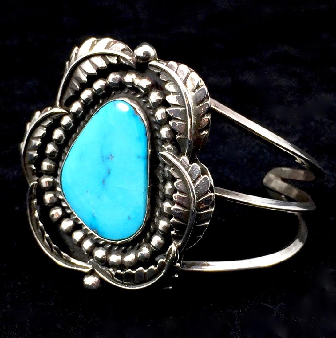 Native American Sterling Silver Turquoise Cuff Bracelet