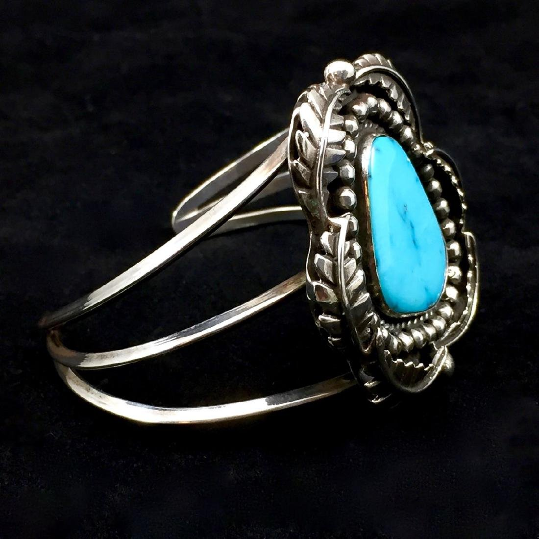 Native American Sterling Silver Turquoise Cuff Bracelet - 2