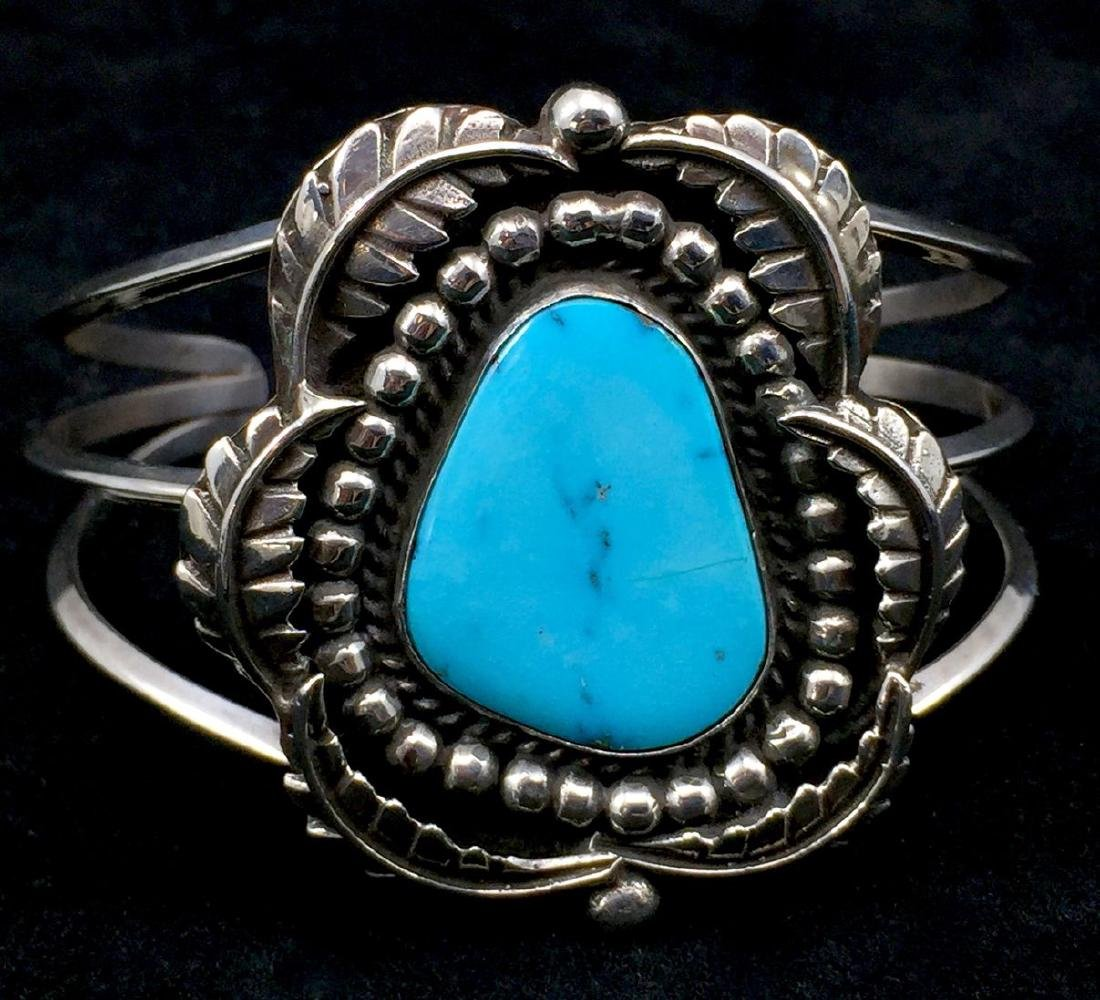 Native American Sterling Silver Turquoise Cuff Bracelet - 3