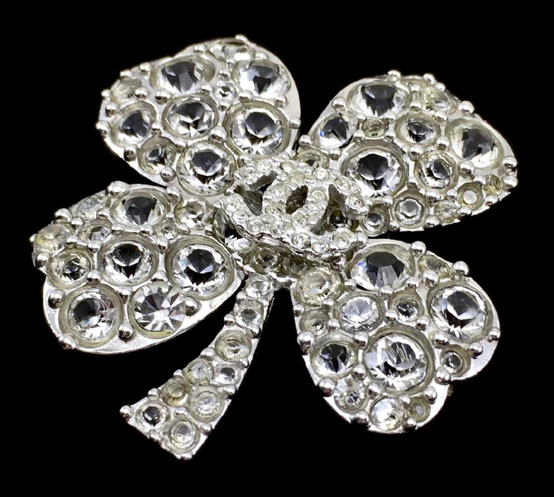 Chanel Rhinestone and Sterling Silver 4-Leaf Clover