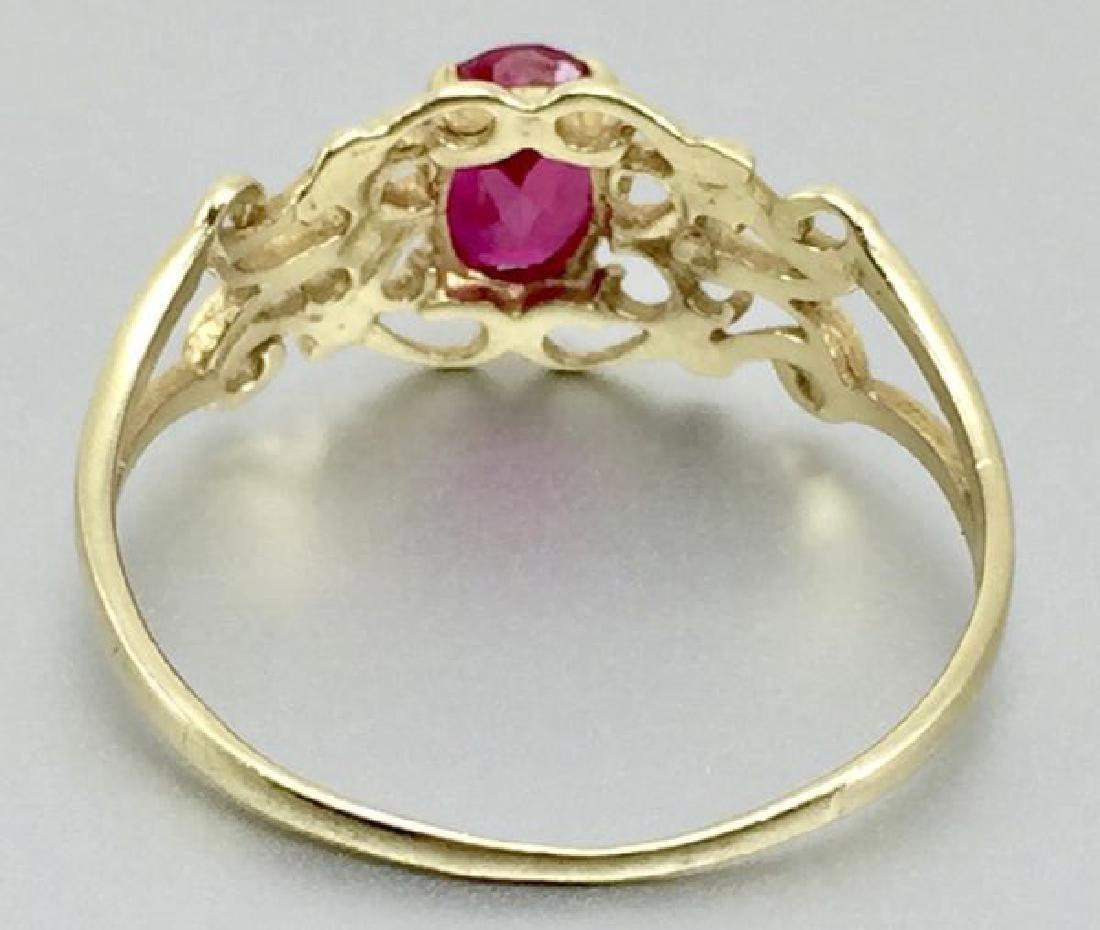 10 Karat Gold Ring With Ruby - 3