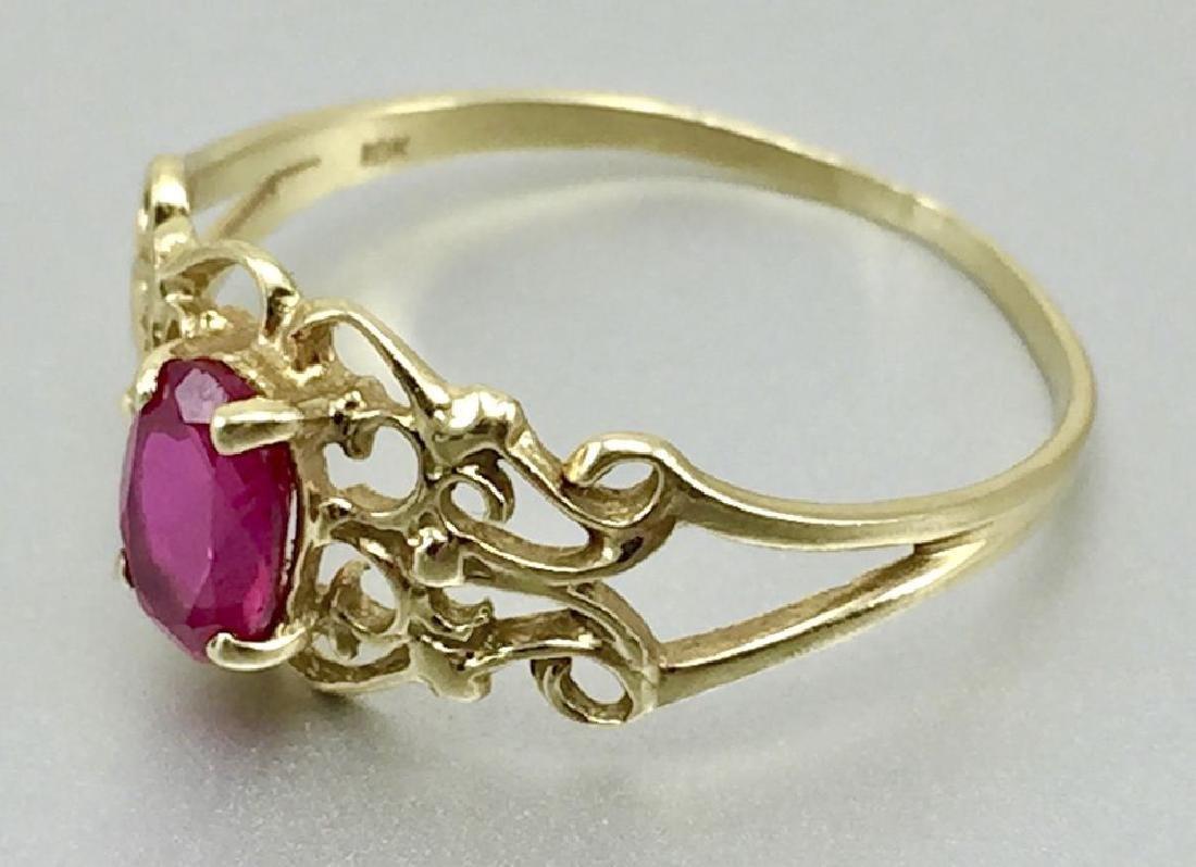 10 Karat Gold Ring With Ruby - 4