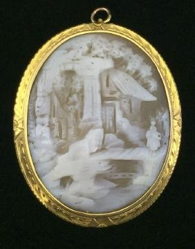 10K Gold-Framed Shell Cameo Pendant and Brooch-Pin