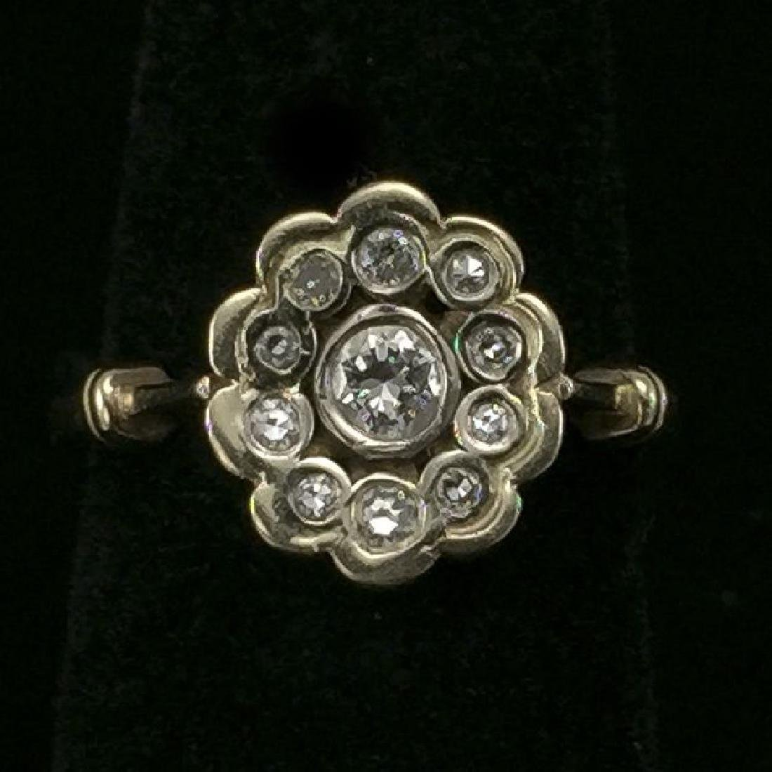 14K Gold Ring With 11 Diamonds