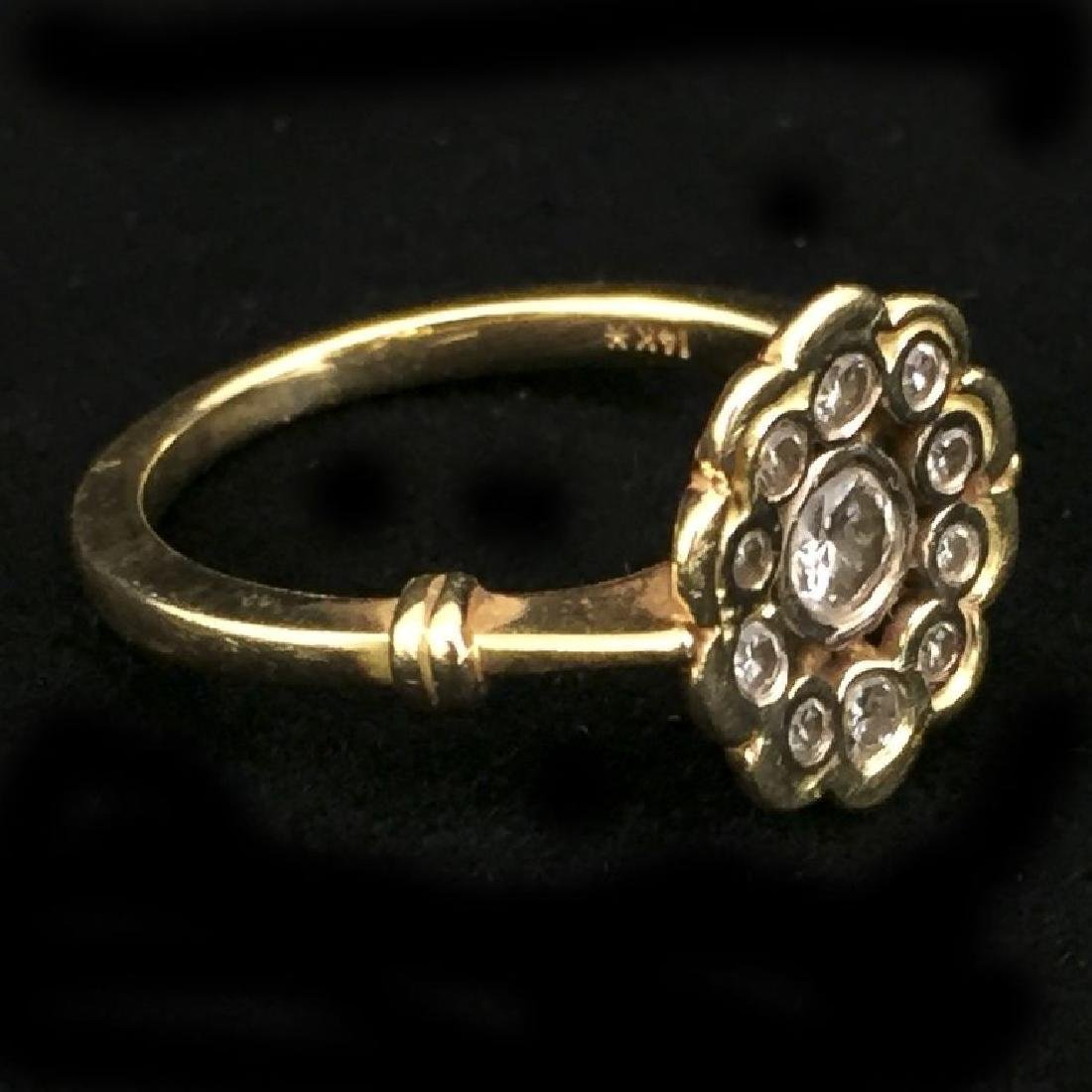14K Gold Ring With 11 Diamonds - 2